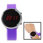 Металлические LED часы с силиконовым ремешком (Фиолетовые)