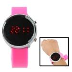 Металлические LED часы с силиконовым ремешком (Розовые)
