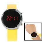 Металлические LED часы с силиконовым ремешком (Желтые)