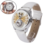 Blue LED Light Indicator Style Mirror Dial Watch with White Silicon Watchband