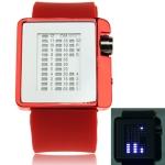 Металлические часы с силиконовым ремешком Mirror Dial (Красные)