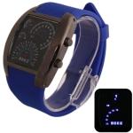 LED часы с силиконовым ремешком (Синие)