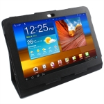 Leather Case with Holder for Samsung Galaxy Tab P5100 (Black)
