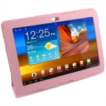 Leather Case with Holder for Samsung Galaxy Tab P5100 (Pink)
