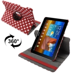 Dot Style 360 Degree Rotatable Leather Case with Holder for Samsung Galaxy Tab 10.1 / P7500 / P7510 (Red)
