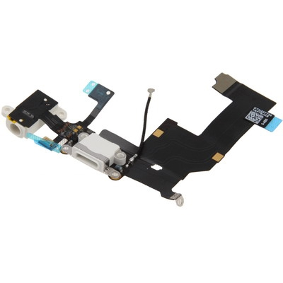 Charger Flex Cable + Headphone Audio Jack Ribbon Flex Cable for iPhone 5 (White)