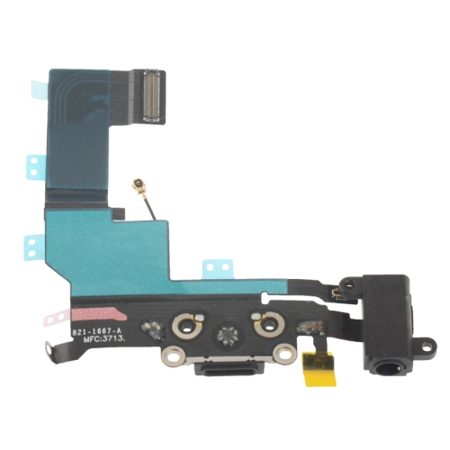 Charger Flex Cable + Headphone Audio Jack Ribbon Flex Cable For IPhone 5S(Black)