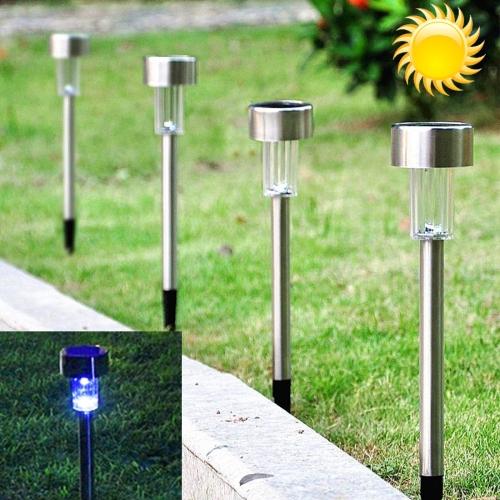 Iluminacion exterior panel solar lampara cesped acero blue for Iluminacion de exterior solar