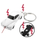Electric Shock Mini Car Keychain with 2 LED Lights / Red Laser (White)