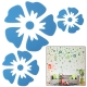 Large + Middle + Small Size Flower Shaped DIY Adhesive Wall Sticker Decal Wallpaper House Interior Decor (Blue)