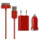 3 in 1 (EU Plug Home Charger, Car Charger, USB Cable) Travel Kit for iPhone 4 & 4S, iPhone 3GS/3G,  iPod Touch (Red)