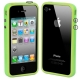 Bumper Frame TPU + PC Case with Keys for iPhone 4 & 4S(LightGreen)
