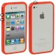 Bumper Frame TPU + PC Case with Keys for iPhone 4 & 4S (Red)