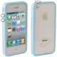 Bumper Frame TPU + PC Case with Keys for iPhone 4 & 4S (Blue)
