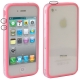 Bumper Frame TPU + PC Case with Keys for iPhone 4 & 4S (Pink)