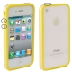 Bumper Frame TPU + PC Case with Keys for iPhone 4 & 4S (Yellow)