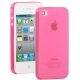 0.3mm Ultra-thin TPU Case for iPhone 4/4S (Red plum), Transparent version / Matte Edition