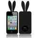2 in 1 (Rabbit Ears TPU Case + Holder) for iPhone 4 & 4S, Black