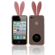 2 in 1 (Rabbit Ears TPU Case + Holder) for iPhone 4 & 4S, Pink