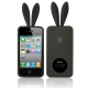2 in 1 (Rabbit Ears TPU Case + Holder) for iPhone 4 & 4S, Grey