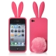 2 in 1 (Rabbit Ears TPU Case + Holder) for iPhone 4 & 4S, (Red)
