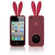 2 in 1 (Rabbit Ears TPU Case + Holder) for iPhone 4 & 4S, Rosy