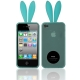 2 in 1 (Rabbit Ears TPU Case + Holder) for iPhone 4 & 4S, Baby Blue