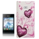 Heart Pattern Diamond Encrusted Plastic Case for LG Optimus L3 / E400