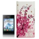 Cherry Blossom Pattern Diamond Encrusted Plastic Case for LG Optimus L3 / E400
