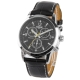 Black Dial Men Quartz Watch with Black Leather Watchband