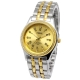 Golden Dial Men Diamond Jewelry Quartz Watch with Stainless Watchband