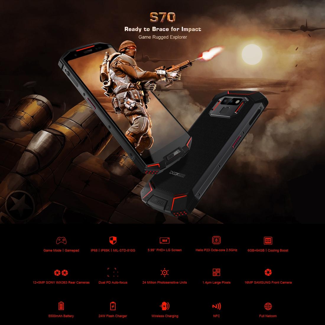 Проектор Смартфон DOOGEE S70 6GB+64GB Защита от влаги пыли ударов по стандарту IP68/IP69K MIL-STD-810G 5500мАч батарея Двойная камера (Фото 3)