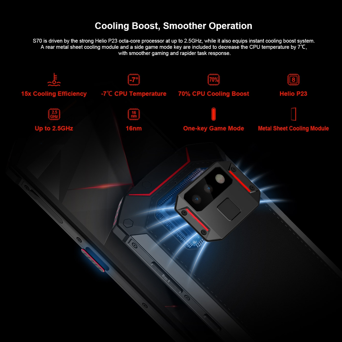 Проектор Смартфон DOOGEE S70 6GB+64GB Защита от влаги пыли ударов по стандарту IP68/IP69K MIL-STD-810G 5500мАч батарея Двойная камера (Фото 6)