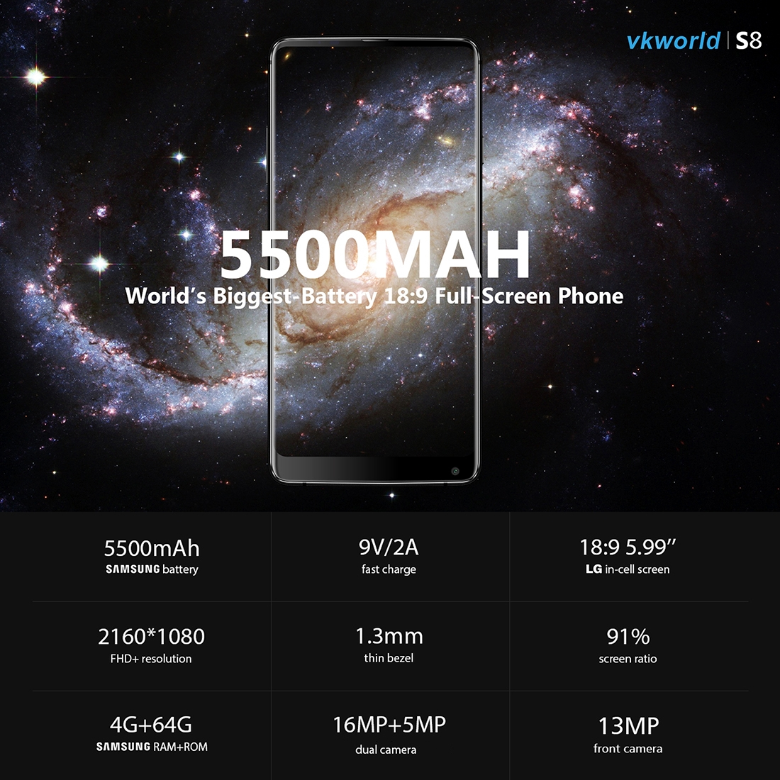 Телефон VKworld S8  4GB 64GB Двойная задняя камера Разблокировка по отпечатку пальца и лицу 5500мАч батарея  MTK6750T 8 ядер