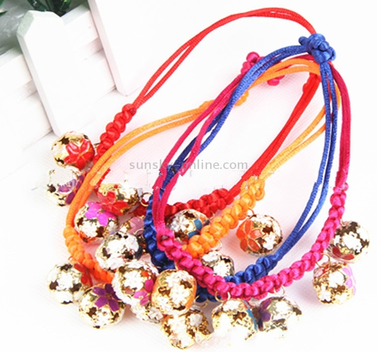 Sunsky 4 Pack Hand Woven Pet Bell Necklace Random Color