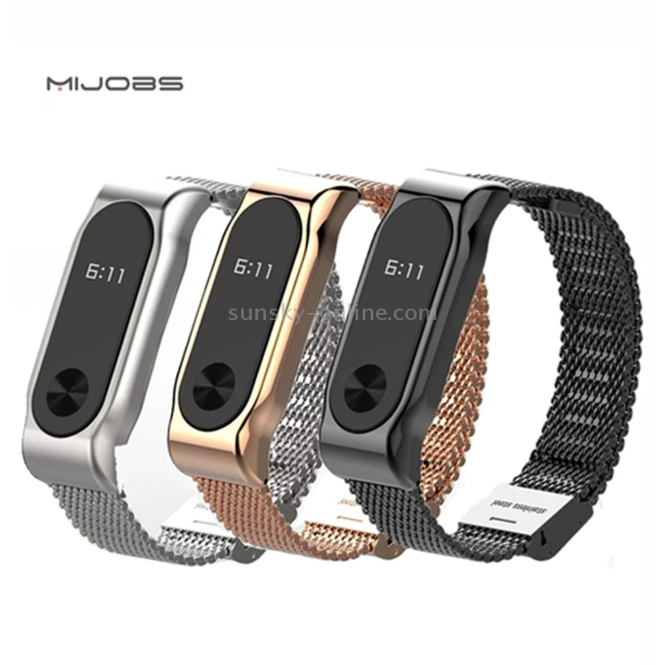 Фото Original Mijobs Metal Strap for Xiaomi Mi Band 2 Screwless Magnetic Stainless Steel Bracelet Wristbands Replace Accessories, Host not Included(Black). Купить в РФ