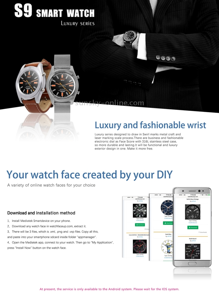 SUNSKY - S9 1 2 inch Touch Screen Bluetooth V4 0 Smart Watch