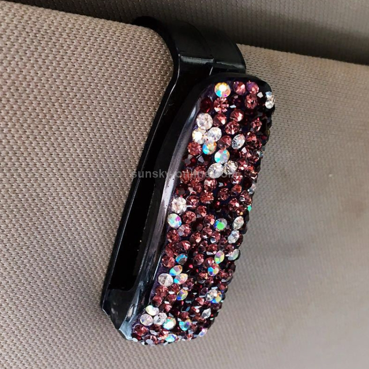 2PCS Car Mount Glasses Clip Rhinestone Diamonds Clip Glasses Holders Women Sun Visor Fastener Clip for Tickets and Cards Purple