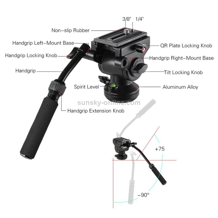 Camera Accessories Aluminum Alloy Heavy Duty Video Camera Tripod Action Fluid Drag Head with Sliding Plate for DSLR /& SLR Cameras Color : Black Black