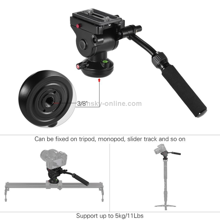Color : Black Large Size Black Camera /& Photo Products Heavy Duty Video Camera Tripod Action Fluid Drag Head with Sliding Plate for DSLR /& SLR Cameras