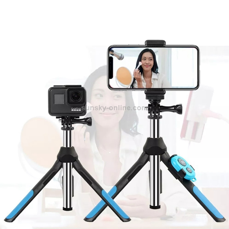 Blue Bluetooth Remote Control Integrated Tripod Selfie Stick for Sports Camera // 4-6 inch Phones for DJI Gopro Action Camera Size:19-93cm Color : Blue