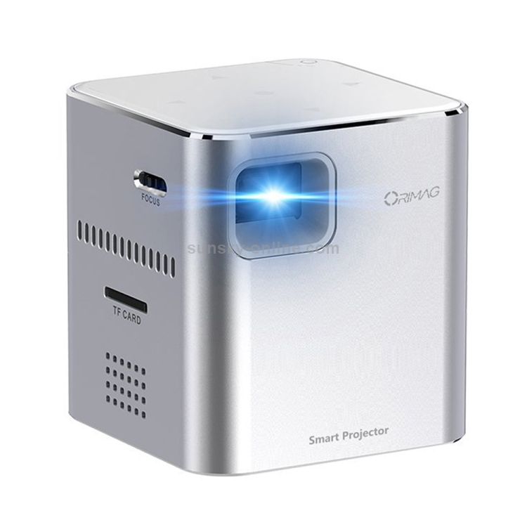 sunsky orimag p6 5w 80lm 640x480 mini dlp image system usb charging led projector pocket beamer home theater with indicator light support tf card wifi 3 5mm earphone silver sunsky