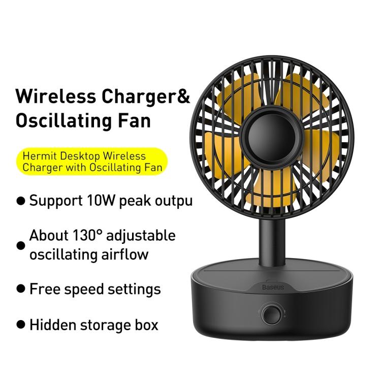 Baseus Hermit Desktop Wireless Charger with Oscillating Fan 7