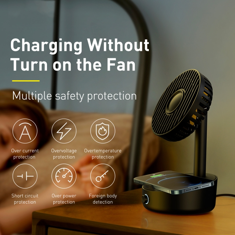Baseus Hermit Desktop Wireless Charger with Oscillating Fan 10