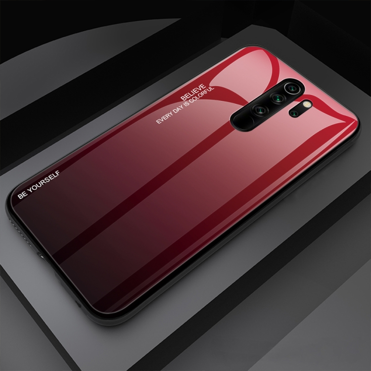 Sunsky For Xiaomi Redmi Note 8 Pro Gradient Color Glass Case Red