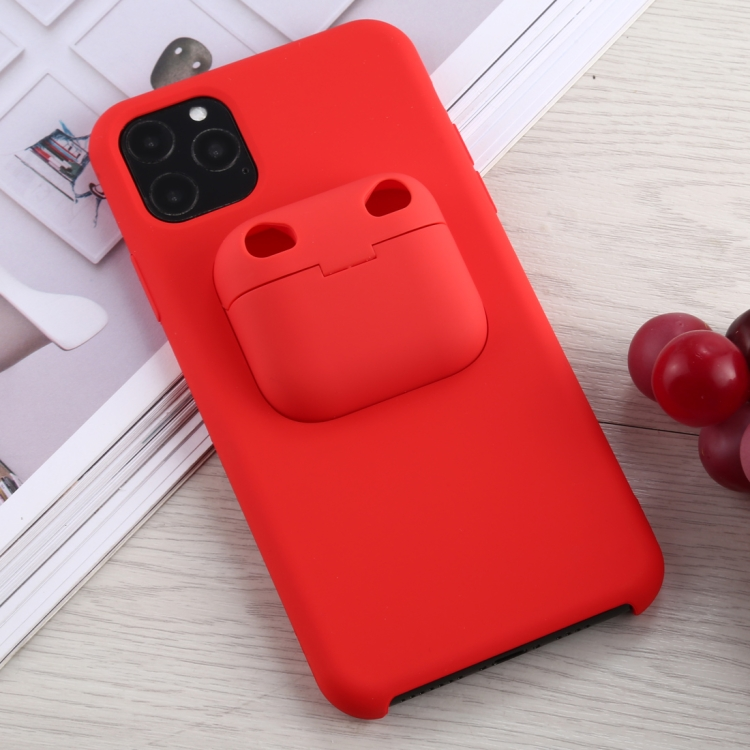 Sunsky For Iphone 11 Pro Max Silicone Shockproof Protective Case With Apple Airpods Pro Case Red