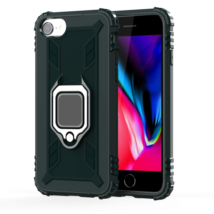 For iPhone SE 2020 / 8 / 7 Carbon Fiber Protective Case with 360 Degree Rotating Ring Holder(Green)