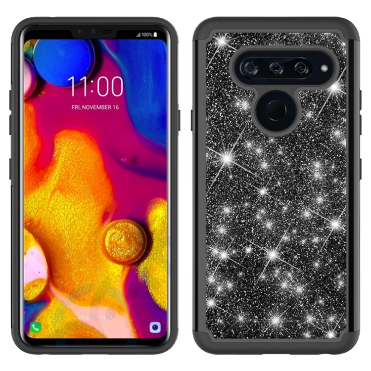 For LG V40 ThinQ Glitter Powder Contrast Skin Shockproof Silicone + PC Protective Case(Black)