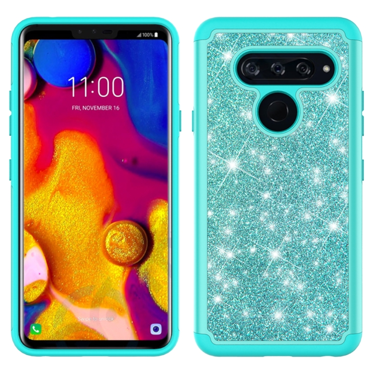 For LG V40 ThinQ Glitter Powder Contrast Skin Shockproof Silicone + PC Protective Case(Green)