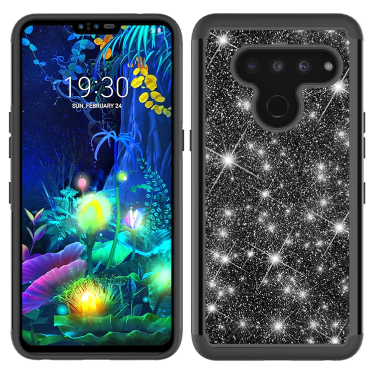 For LG V50 ThinQ 5G Glitter Powder Contrast Skin Shockproof Silicone + PC Protective Case(Black)